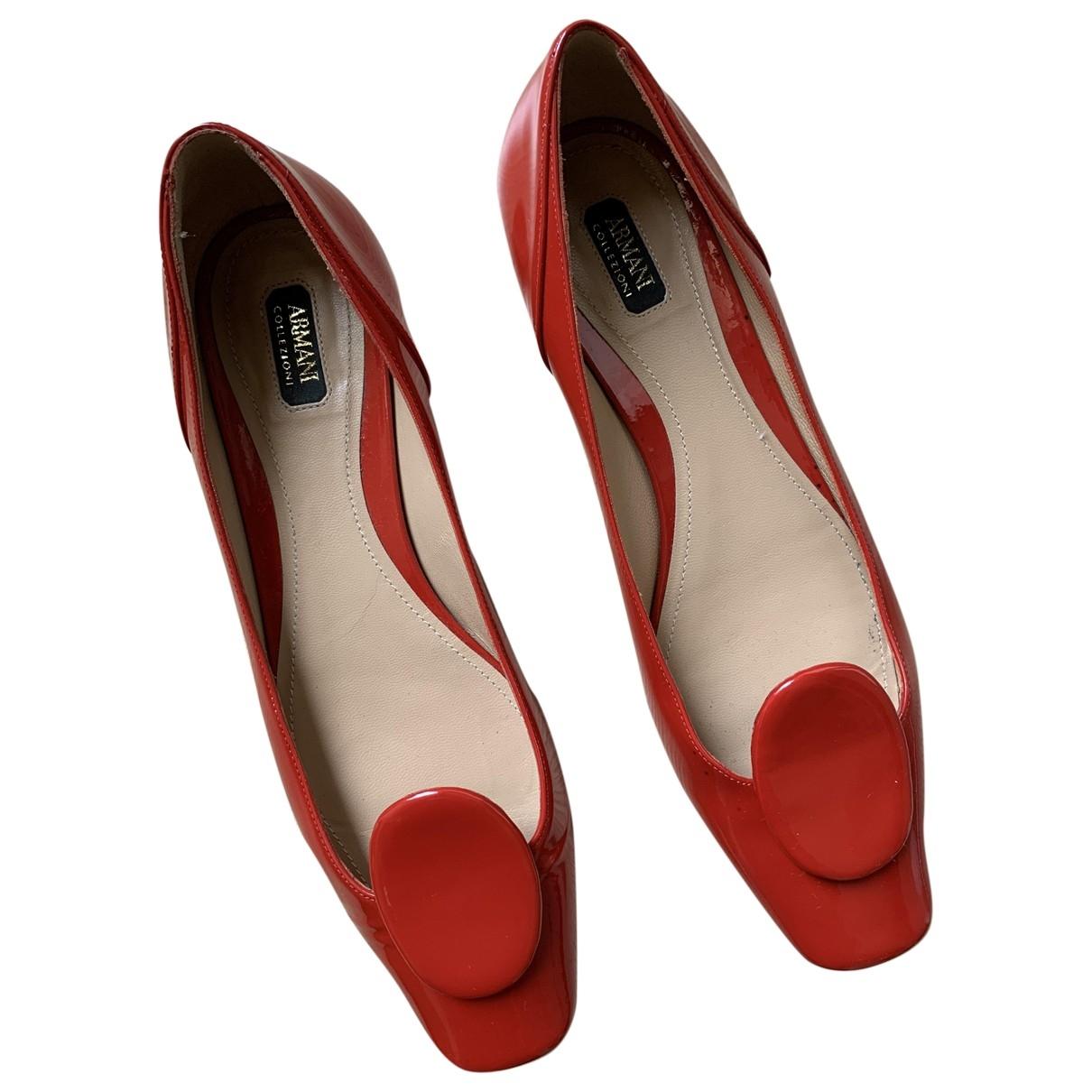 Armani Collezioni \N Ballerinas in  Rot Lackleder