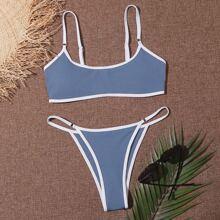 Rib Contrast Binding Thong Bikini Swimsuit