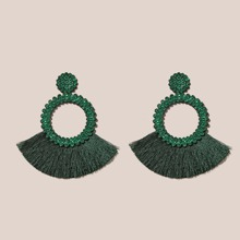 Rhinestone & Tassel Decor Drop Earrings