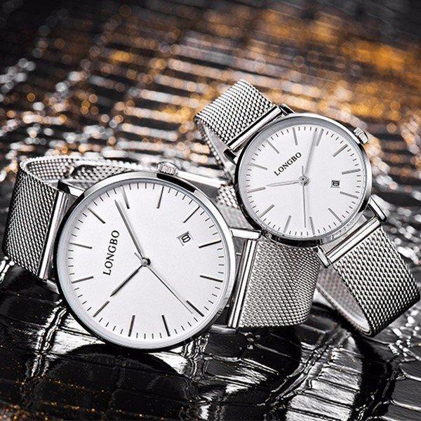LONGBO Calendar Waterproof Couple Watch Weave Stainless Steel Mesh Ultra Thin Minimalist Watch