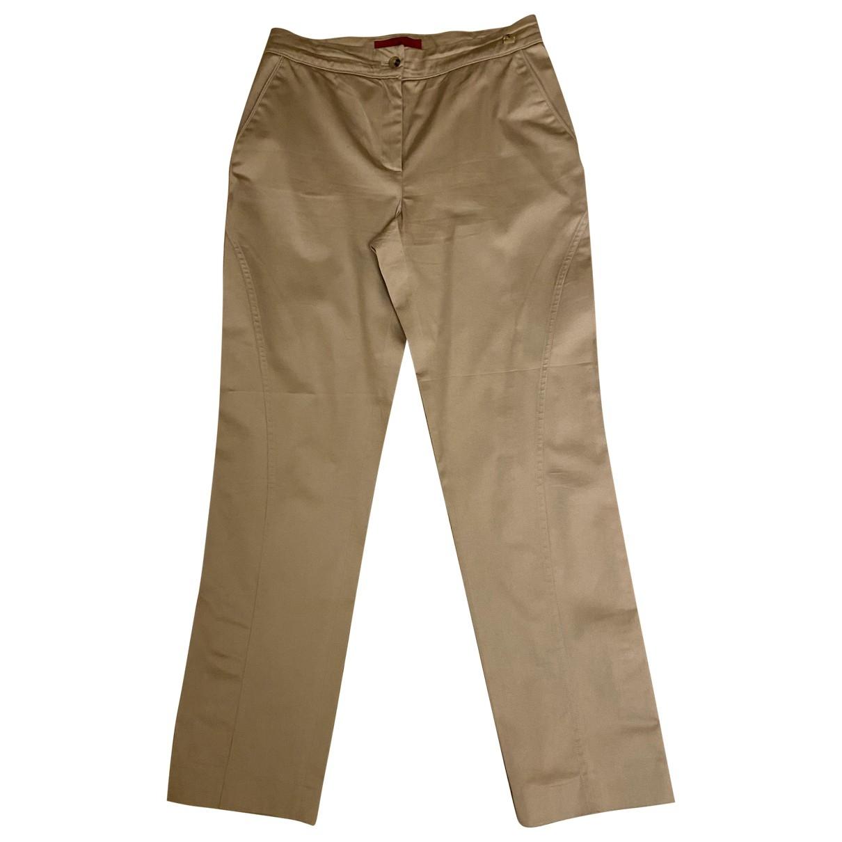 Carolina Herrera \N Beige Cotton Trousers for Women 6 US