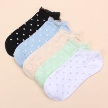 5 Paare Socken mit Punkten Muster und Spitzenbesatz