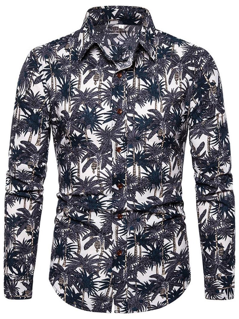 Ericdress Print Fashion Lapel Slim Mens Single-Breasted Shirt