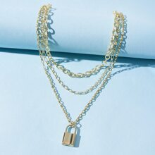 Lock Layered Chain Necklace
