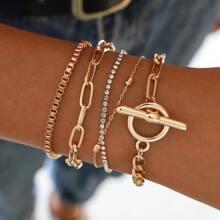 5pcs Toggle Clasp & Chain Bracelet