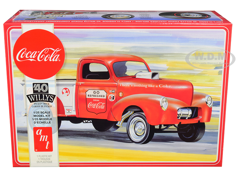 Skill 3 Model Kit 1940 Willys Gasser Pickup Truck Coca-Cola 1/25 Scale Model by AMT