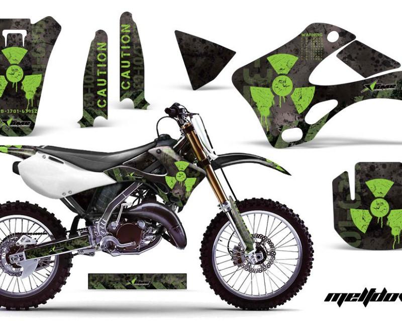 AMR Racing Dirt Bike Graphics Kit Decal Wrap For Kawasaki KX125 | KX250 1999-2002áMELTDOWN GREEN BLACK