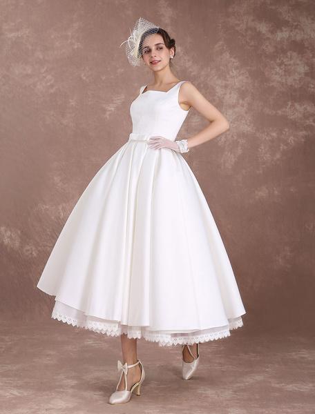 Milanoo White Wedding Dresses Short Vintage Bridal Dress 1950's Satin Straps Bow Sash Tea Length Rockabilly Wedding Reception Dress
