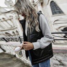 Contrast Sleeve Zip Up Hooded Puffer Coat