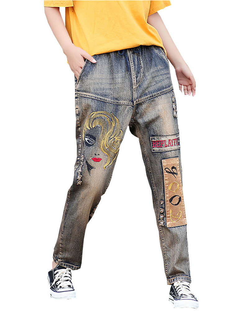 Vintage Art Embroidery Stitching Patch Harem Jeans For Women