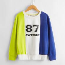 Pullover mit Buchstaben & Nummer Muster und Farbblock