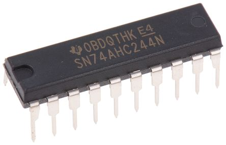 Texas Instruments SN74HC540N Octal-Channel Buffer & Line Driver, 3-State, Inverting, 20-Pin PDIP (20)