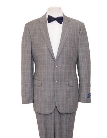 Mens Pattern Single Breasted Notch Lapel Blue Suit Flat Front Pant