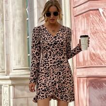 Ruffle Trim Wrap Hem Leopard Dress