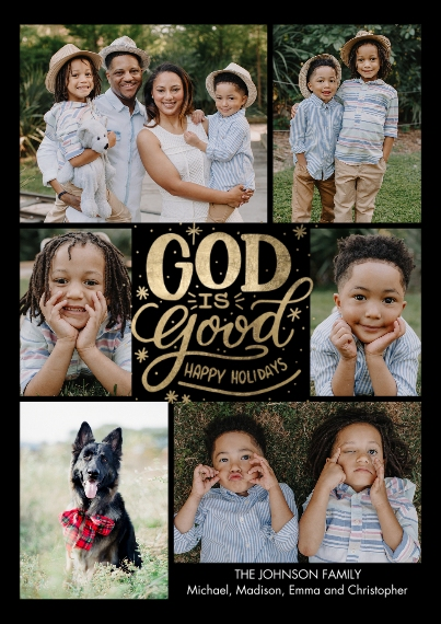 Christmas Photo Cards 5x7 Cards, Premium Cardstock 120lb with Scalloped Corners, Card & Stationery -Christmas Snapshots God is Good by Tumbalina