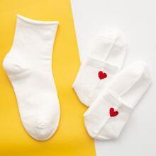 2 Paare Socken mit Herzen Muster