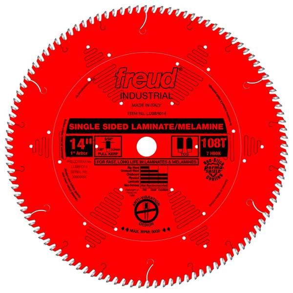 LU98R014 Industrial Single Sided Laminate/Melamine Blade with Red Perma-Shield, 14