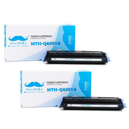 Compatible HP 124A Q6001A cartouche de toner cyan - Moustache - 2/paquet