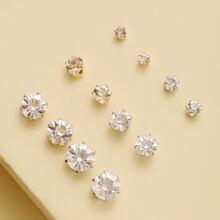 6 pares pendientes de tachuela con diamante de imitacion