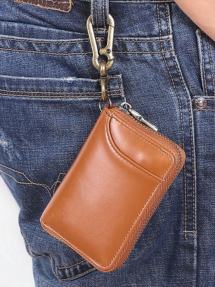 Men Genuine Leather Car Key Case Multifunctional Waist Storage Bag Wallet