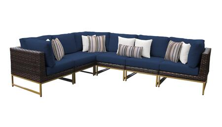 Barcelona BARCELONA-06v-GLD-NAVY 6-Piece Patio Set 06v with 3 Corner Chairs and 3 Armless Chairs - Beige and Navy Covers with Gold