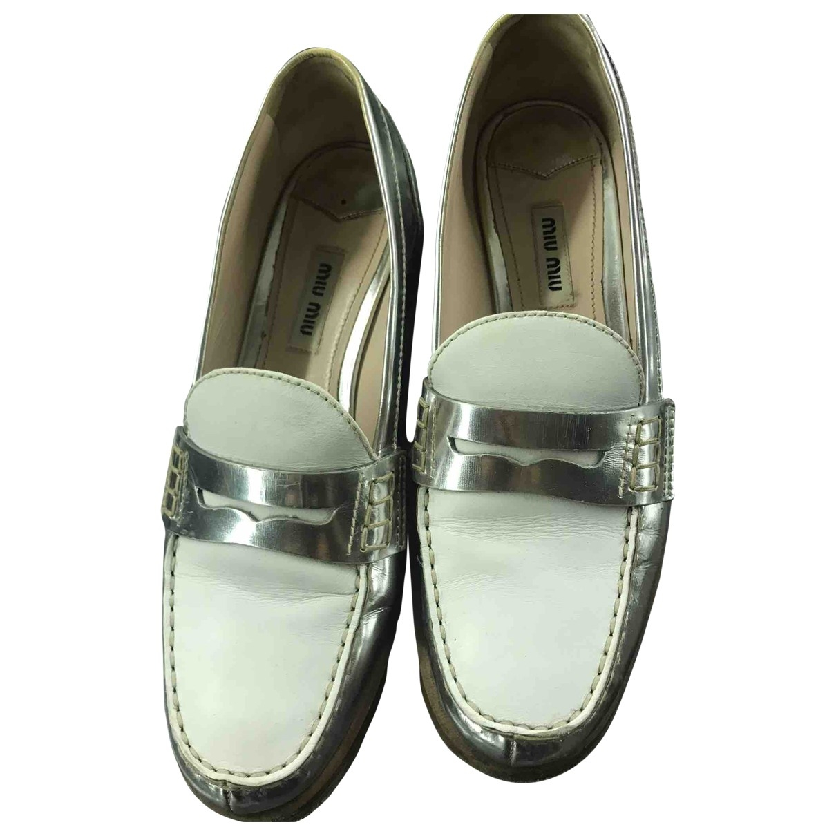 Miu Miu \N Silver Leather Flats for Women 37 EU