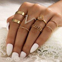 7pcs Rhinestone Floral Ring