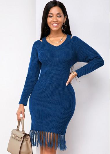 Rosewe Women Navy Blue Long Sleeve Tassel Hem Sheath Sweater Dress Solid Color Cutout Shoulder Knee Length Work Dress - XL