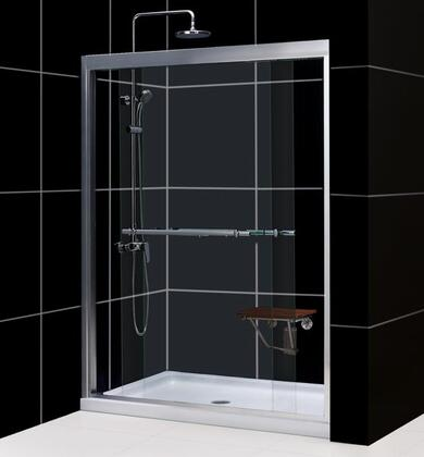 DL-6952C-01CL Duet 34 In. D X 60 In. W Semi-Frameless Bypass Shower Door In Chrome With Center Drain White Acrylic Base