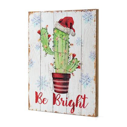 Décoration de Noël Plaque Murale en Bois Cactus DEL 15.75