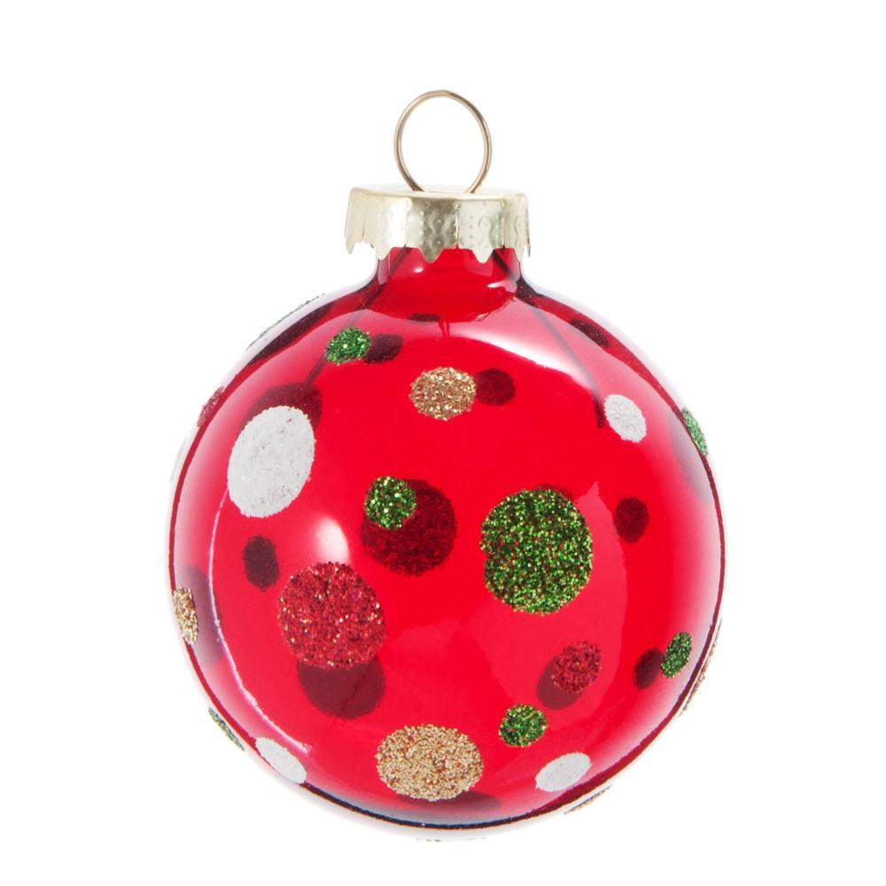 Weihnachtskugel aus Glas, rot mit bunten Tupfen