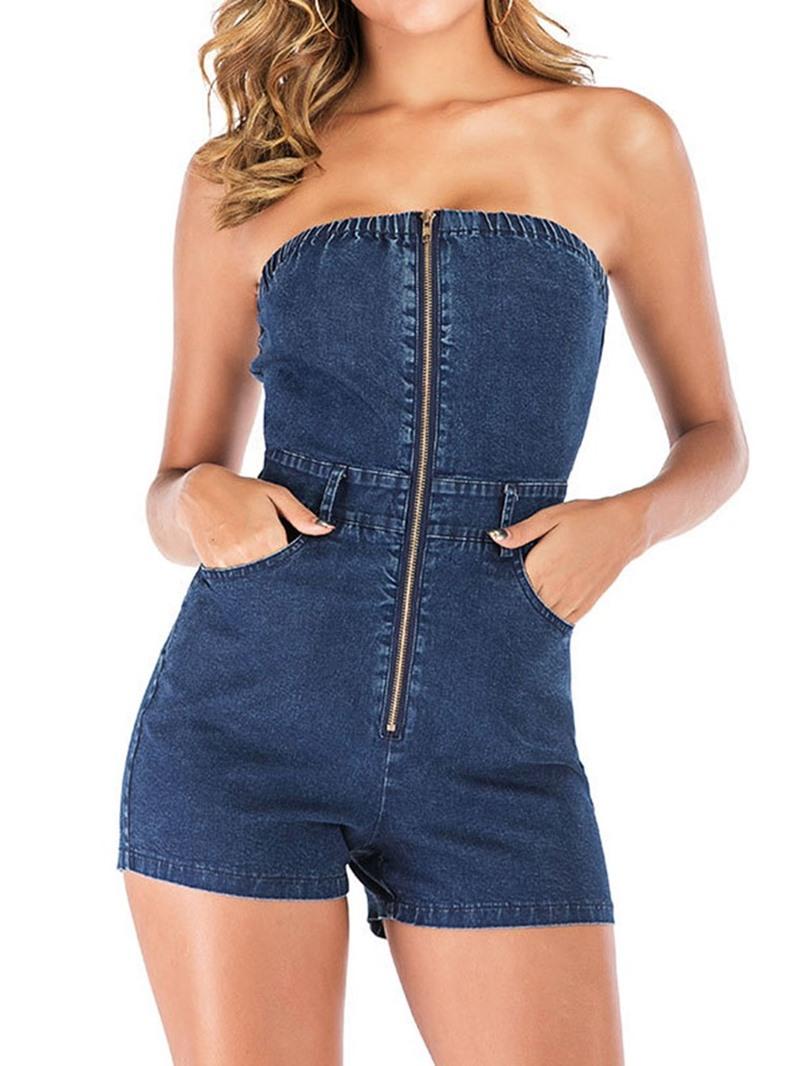 Ericdress Plain Zipper Skinny Sexy Jumpsuit