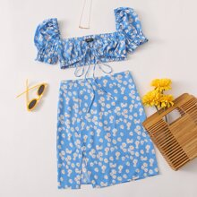 Daisy Print Tie Front Crop Top & Split Hem Skirt Set