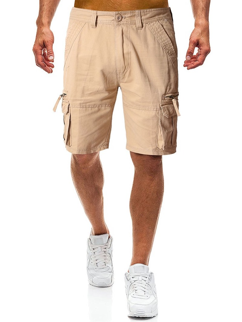 Ericdress Loose Pocket Plain Mens Casual Button Shorts