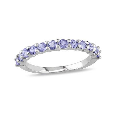 Genuine Tanzanite Sterling Silver Band Ring, 7 , No Color Family
