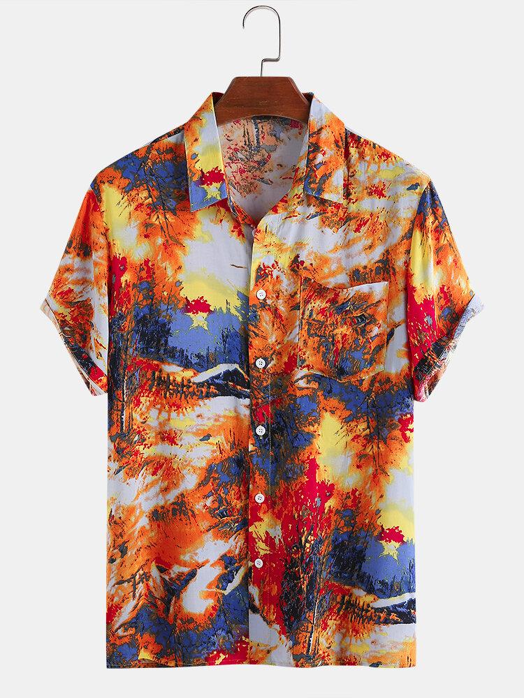 Men Abstract Tie-dye Printed Holiday Casual Shirt