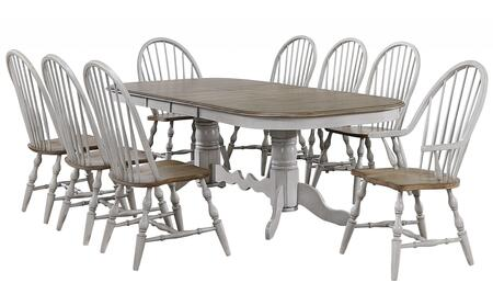 Country Grove Collection DLU-CG4296-30AGO9 9 Piece Double Pedestal Extendable Dining Table Set  2 Arm Chairs in Distressed Gray and Brown