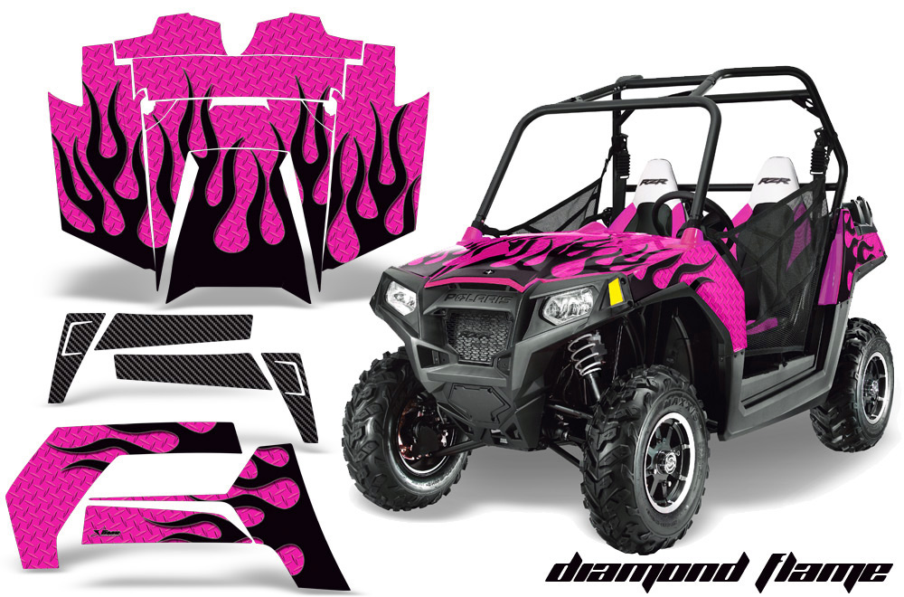 AMR Racing  Full Custom UTV Graphics Decal Kit Wrap Diamond Flame Pink Polaris RZR 800 11-14