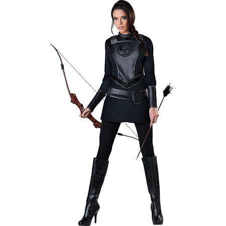 The Hunger Games: Warrior Huntress Adult Costume Womens Costume, X-large , Black