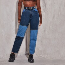 High Waist Cut and Sew Jeans Without Belt