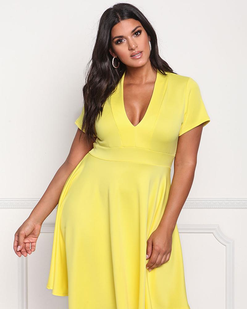 Short Sleeve Expansion Skirt Pure Color Plus Size Dress