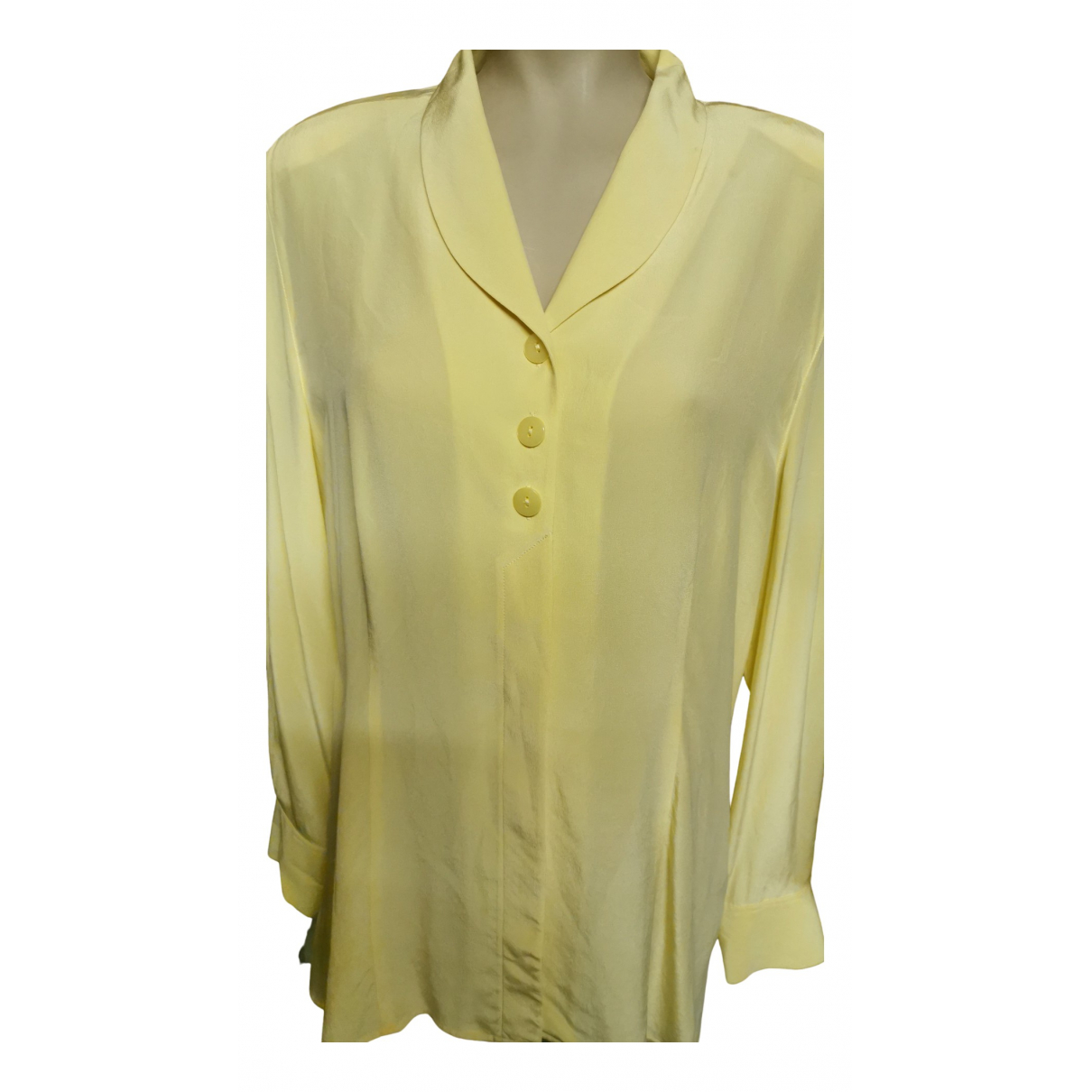 Non Signé / Unsigned N Yellow Silk  top for Women 42 FR