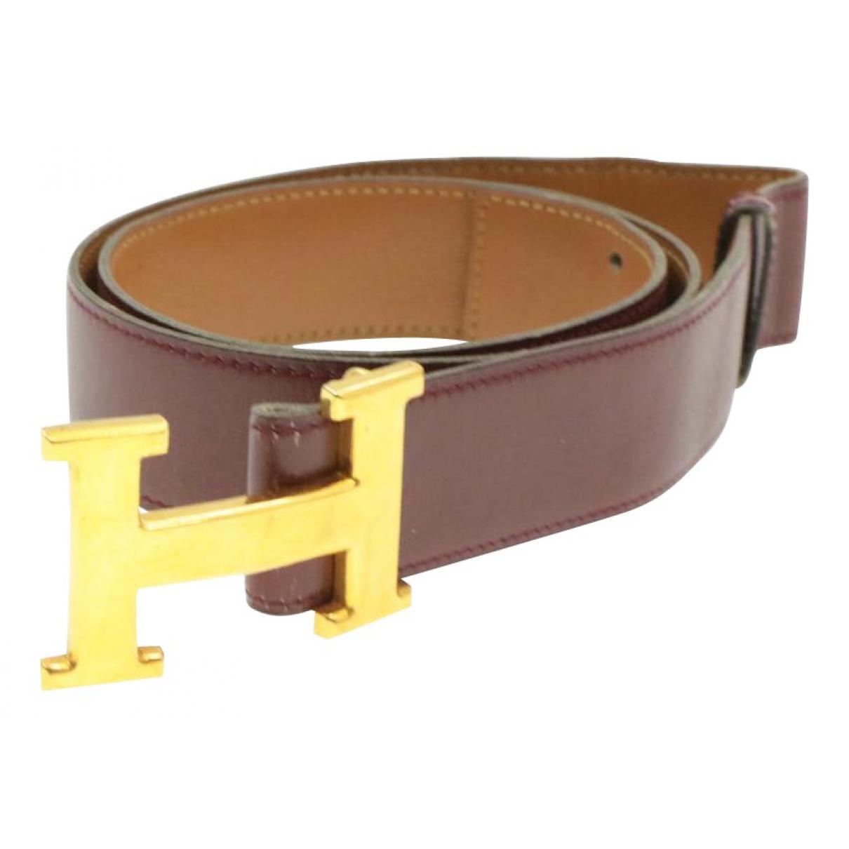 Hermes - Ceinture H pour femme en cuir - bordeaux