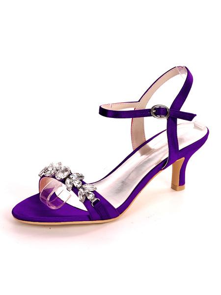 Milanoo Satin Wedding Shoes Blue Open Toe Rhinestones Kitten Heel Bridal Shoes