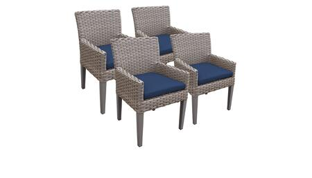 Monterey Collection MONTEREY-TKC297b-DC-2x-C-NAVY 4 Dining Chairs With Arms - Beige and Navy