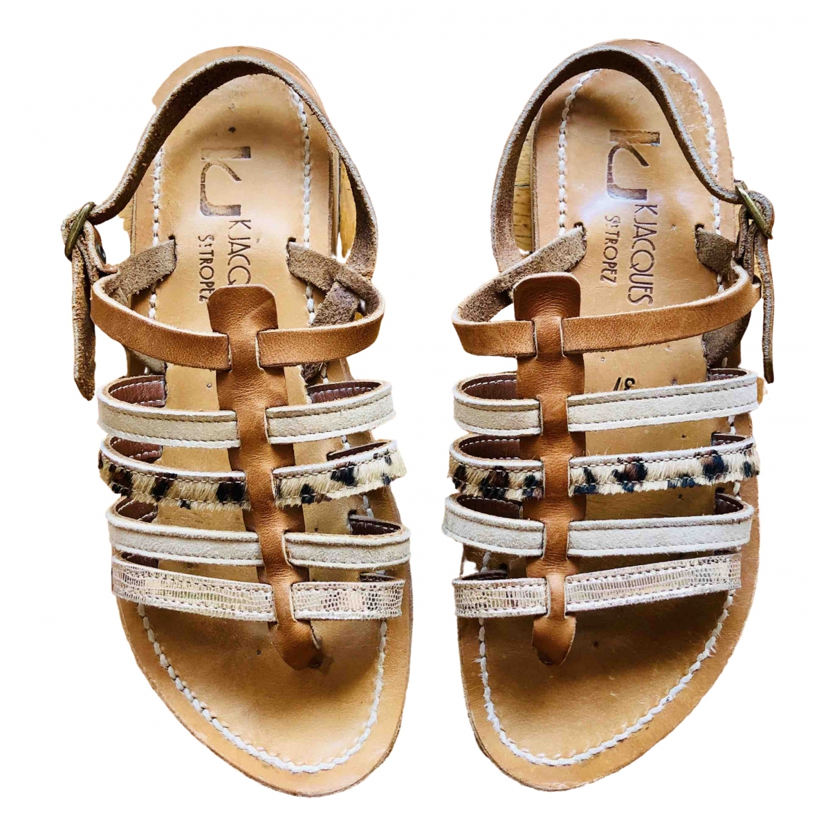K Jacques Homere Brown Leather Sandals for Women 37 EU