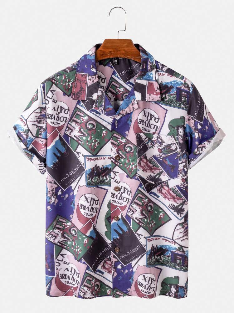 Mens Printed Light Revere Collar Casual Short Sleeve Shirts With Pocket
