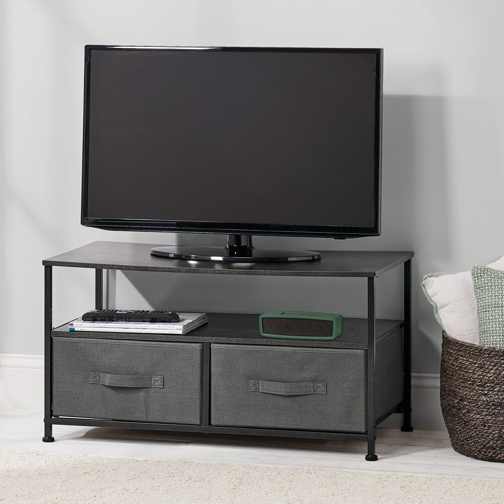2 Drawer Storage TV Stand Unit with Fabric Drawers in Espresso Brown, 15.75