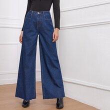 High Waisted Raw Hem Wide Leg Jeans