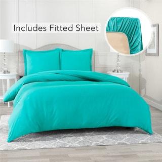 Nestl Bedding Ultra Soft Microfiber Duvet Cover with Fitted Sheet Set (Split King - Teal)